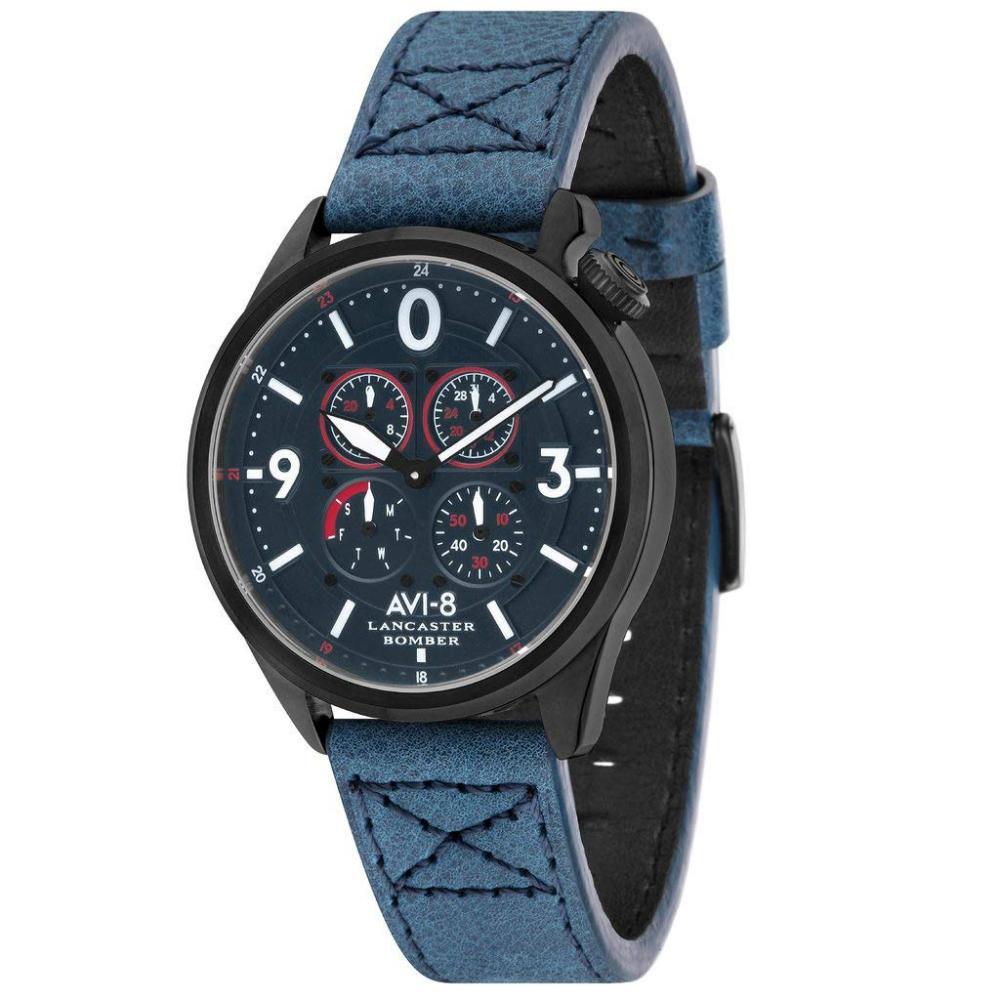 アヴィエイト アビエイト 腕時計 メンズ イギリス AVI-8 Men's Lancaster Bomber Stainless Steel Japanese-Quartz Leather Strap, Blue, 22 Casual Watch (Model: AV-4050-06)アヴィエイト アビエイト 腕時計 メンズ イギリス