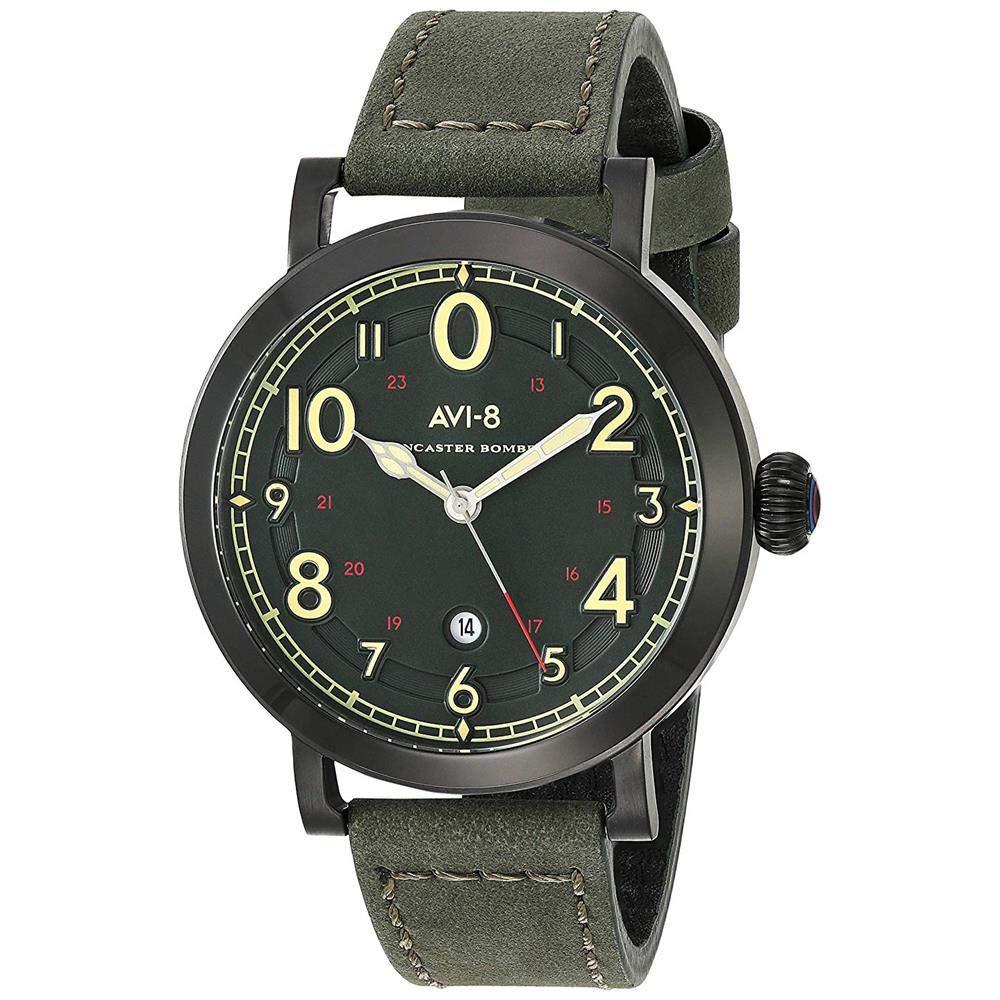 アヴィエイト アビエイト 腕時計 メンズ イギリス 【送料無料】AVI-8 Men's Cockpit Stainless Steel Japanese-Quartz Aviator Watch with Leather Strap, Green, 18.9 (Model: AV-4067-03)アヴィエイト アビエイト 腕時計 メンズ イギリス