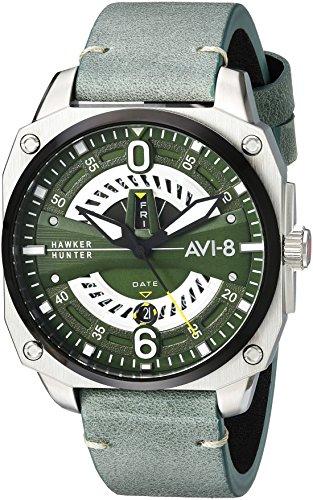 アヴィエイト アビエイト 腕時計 メンズ イギリス 【送料無料】AVI-8 Men's Hawker Hunter Stainless Steel Japanese-Quartz Aviator Watch with Leather Strap, Green, 21.5 (Model: AV-4057-03)アヴィエイト アビエイト 腕時計 メンズ イギリス