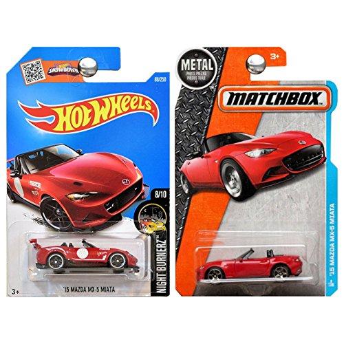 ホットウィール マテル ミニカー ホットウイール 【送料無料】Hot Wheels and Matchbox 2016 Mazda Miata MX5 MX-5 Set of 2 in Red WITH PROTECTORSホットウィール マテル ミニカー ホットウイール