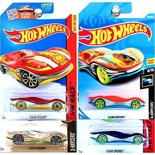 ホットウィール マテル ミニカー ホットウイール 【送料無料】Hot Wheels Clear Speeder Red Orange Silver Blue Purple Yellow Set of 4ホットウィール マテル ミニカー ホットウイール