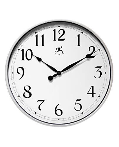 壁掛け時計 インテリア インテリア 海外モデル アメリカ 【送料無料】Infinity Instruments Silver Large Office Clock 18 inch Wall Clock Wall Clock for Office, Home, Business, Warehouse, Large Easy壁掛け時計 インテリア インテリア 海外モデル アメリカ