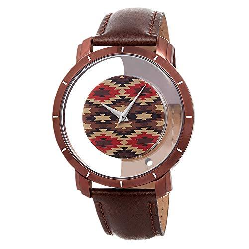 腕時計 アクリボスXXIV メンズ 【送料無料】Akribos XXIV Men's Floating Dial Watch - Unique Colorful Navajo Pattern on Dial with Hidden Crown with Genuine Brown Calfskin Leather Strap - AK665腕時計 アクリボスXXIV メンズ
