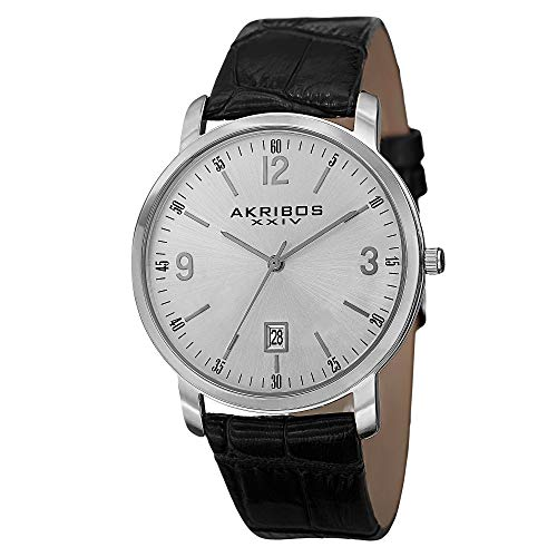 アクリボスXXIV 腕時計 メンズ 【送料無料】Akribos XXIV Men's Clear Classy Watch - Arabic Numeral & Baton Hour Markers With Date Window On Genuine Embossed Crocodile Pattern Strap - AK780アクリボスXXIV 腕時計 メンズ