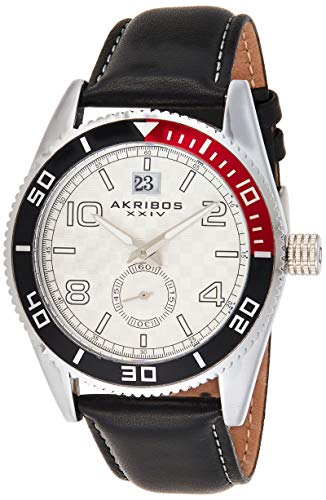 アクリボスXXIV 腕時計 メンズ 【送料無料】Akribos XXIV Men's unidirectional Watch - Coin-Edge Bezel Checkerboard Dial with Date Window and 60-second Subdial- AK859SSアクリボスXXIV 腕時計 メンズ