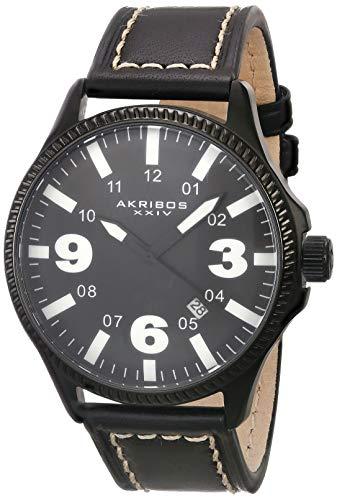 腕時計 アクリボスXXIV メンズ 【送料無料】Akribos XXIV Men's Classic Watch with Date - Bold Luminous Arabic Numerals On Genuine White Leather with Cream Stitching Strap - AK833腕時計 アクリボスXXIV メンズ