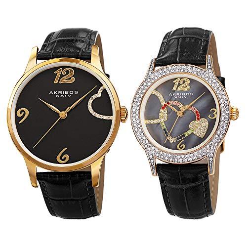 アクリボスXXIV 腕時計 レディース Akribos XXIV His & Hers Crystal Accented Interlocking Heart Watch Set - 2 Matching Wacthes On Crocodile Embossed Genuine Leather Bracelet - Makes a Great Gift- AK1076 (Gold & Black)アクリボスXXIV 腕時計 レディース