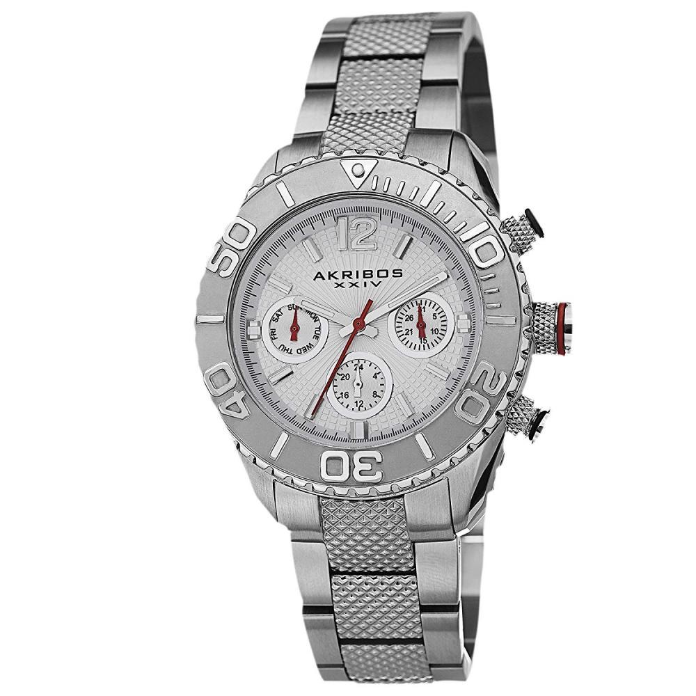 アクリボスXXIV 腕時計 レディース 【送料無料】Akribos XXIV Women's 'Ultimate' Swiss Multifunction Watch - 3 Subdials Day, Date and GMT On Silver Stainless Steel Bracelet - AK695アクリボスXXIV 腕時計 レディース