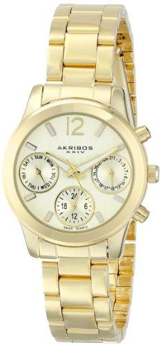 アクリボスXXIV 腕時計 レディース 【送料無料】Akribos XXIV Women's AK709YG Ultimate Swiss Quartz Multifunction Gold-tone Bracelet WatchアクリボスXXIV 腕時計 レディース