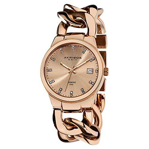 アクリボスXXIV 腕時計 レディース 【送料無料】Akribos XXIV Women's Impeccable Diamond Watch - 23 Genuine Diamond Hour Markers Swiss Quartz Watch On a Twist Chain Bracelet - AK608アクリボスXXIV 腕時計 レディース