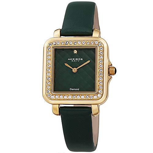 アクリボスXXIV 腕時計 レディース 【送料無料】Akribos XXIV Women's Swarovski Crystal Watch - Embossed Argyle Dial Diamond at 12 O'clock On Genuine Leather Strap - AK1106 (Green)アクリボスXXIV 腕時計 レディース
