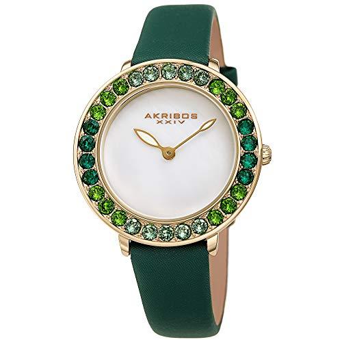 アクリボスXXIV 腕時計 レディース 【送料無料】Akribos Dazzling Colorful Swarovski Crystal Women's Watch - Stylish Ladies Watch with Comfortable Genuine Satin Over Leather Strap- AK1093 (Green)アクリボスXXIV 腕時計 レディース