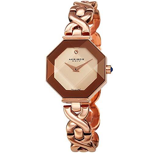 アクリボスXXIV 腕時計 レディース 【送料無料】Octagonal Case with Faceted Crystal Lens Women's Watch - with Diamond Marker Adorned with Twisted Link Bracelet. AK1086 (Rose Gold)アクリボスXXIV 腕時計 レディース
