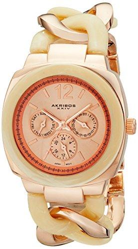 アクリボスXXIV 腕時計 レディース 【送料無料】Akribos XXIV Women's Ultimate Multi-Function Rose-Tone and Beige Pillow-Cut Twist Chain Bracelet Watch - AK641RGアクリボスXXIV 腕時計 レディース