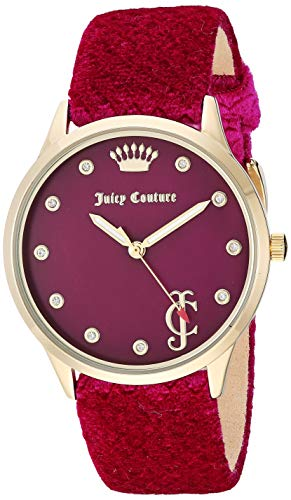 ジューシークチュール レディース 【送料無料】Juicy Couture Black Label Women's Swarovski Crystal Accented Gold-Tone and Hot Pink Velvet Strap Watchジューシークチュール レディース