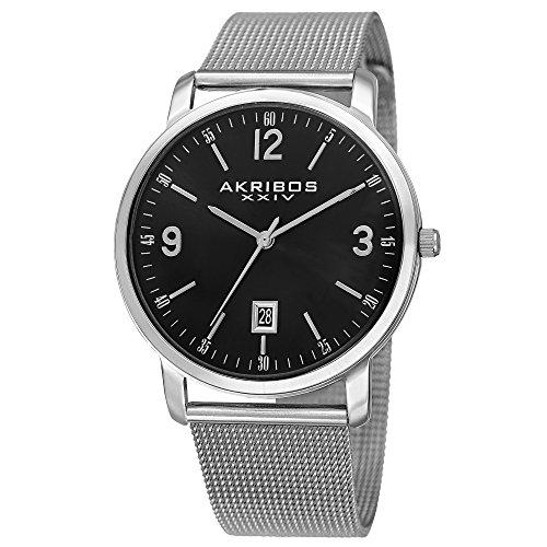 アクリボスXXIV 腕時計 メンズ 【送料無料】Akribos XXIV Omni Mens Casual Watch - Sunburst Effect Dial - Quartz Movement - Stainless Steel Mesh Strap - Black SilverアクリボスXXIV 腕時計 メンズ