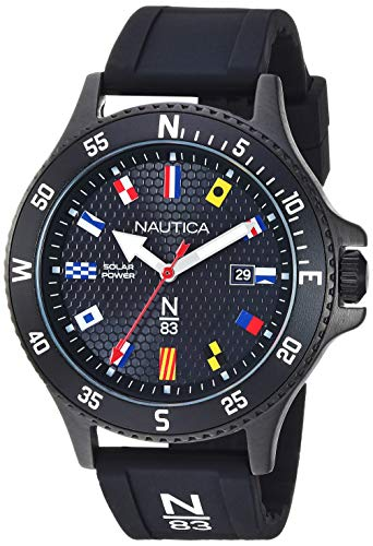 ノーティカ 腕時計 メンズ 【送料無料】Nautica N83 Men's NAPCBS907 Cocoa Beach Solar Black/Flags Silicone Strap Watchノーティカ 腕時計 メンズ