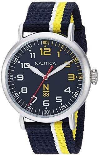 腕時計 ノーティカ メンズ 【送料無料】Nautica N83 Men's NAPWLS907 Wakeland Blue/Yellow Stripe Fabric Strap Watch腕時計 ノーティカ メンズ