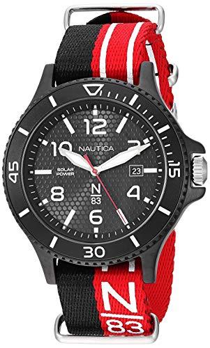 ノーティカ 腕時計 メンズ 【送料無料】Nautica N83 Men's NAPCBS901 Cocoa Beach Solar Black/Red Fabric Slip-Thru Strap Watchノーティカ 腕時計 メンズ