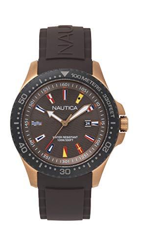 腕時計 ノーティカ メンズ 【送料無料】Nautica Men's Jones Beach Stainless Steel Japanese-Quartz Silicone Strap, Black, 22 Casual Watch (Model: NAPJBC007腕時計 ノーティカ メンズ