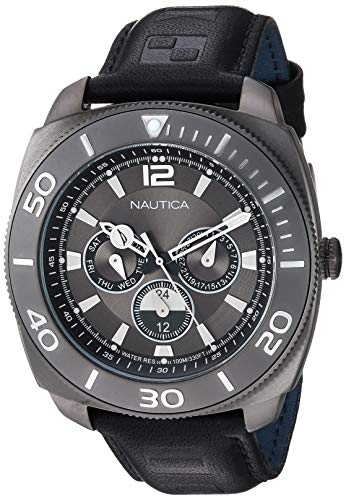 ノーティカ 腕時計 メンズ 【送料無料】Nautica Men's NAPBHS903 Bal Harbour Black/Gunmetal Leather Strap Watchノーティカ 腕時計 メンズ