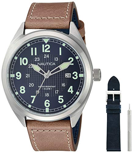 ノーティカ 腕時計 メンズ 【送料無料】Nautica Men's Battery Park Stainless Steel Japanese-Quartz Leather Strap, Brown, 21 Casual Watch (Model: NAPBTP008ノーティカ 腕時計 メンズ