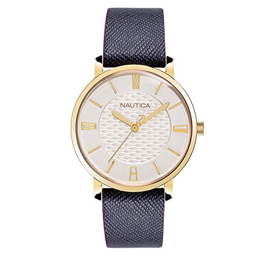 ノーティカ 腕時計 レディース 【送料無料】Nautica Watch NAPCGP903 Coral Gables, Analog, Water Resistant, Leather Strap, Adjustable Buckle, Snap Down Crown, Blueノーティカ 腕時計 レディース