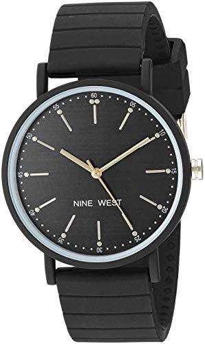 ナインウェスト 腕時計 レディース Nine West Women's Black Silicone Strap Watch, NW/2330BKBKナインウェスト 腕時計 レディース