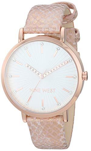 ナインウェスト 腕時計 レディース 【送料無料】Nine West Women's Crystal Accented Rose Gold-Tone and Pink Snake Patterned Strap Watch, NW/2382RGPKナインウェスト 腕時計 レディース