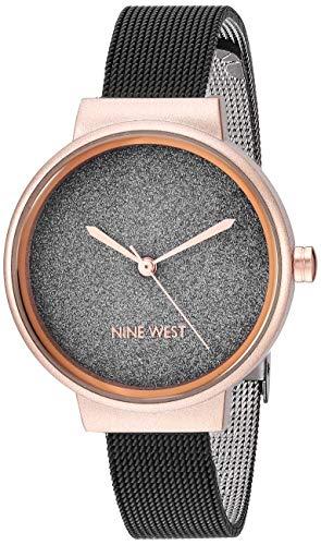 ナインウェスト 腕時計 レディース 【送料無料】Nine West Women's Rose Gold-Tone and Black Mesh Bracelet Watch, NW/2397BKRTナインウェスト 腕時計 レディース