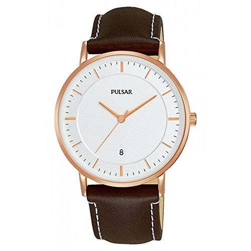 腕時計 パルサー SEIKO セイコー メンズ 【送料無料】Pulsar Men's 38mm Brown Leather Band Steel Case Quartz White Dial Analog Watch PG8258腕時計 パルサー SEIKO セイコー メンズ