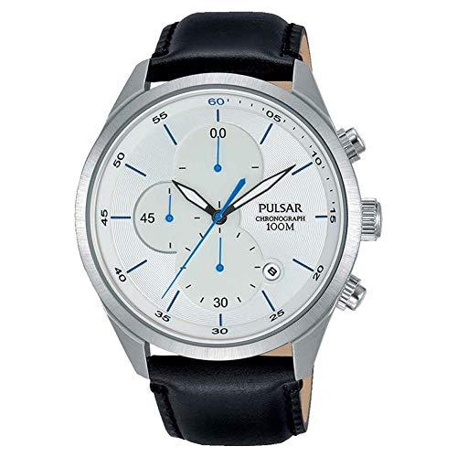 腕時計 パルサー SEIKO セイコー メンズ 【送料無料】Pulsar Men's Analog Quartz Chronograph Watch with Date and Leather Strap White Dial - PM3101X1腕時計 パルサー SEIKO セイコー メンズ