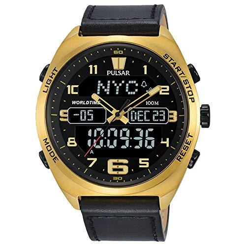 パルサー SEIKO セイコー 腕時計 メンズ 【送料無料】Pulsar Men's Analog-Digital Watch with World-Time and Leather Strap - PZ4042X1パルサー SEIKO セイコー 腕時計 メンズ
