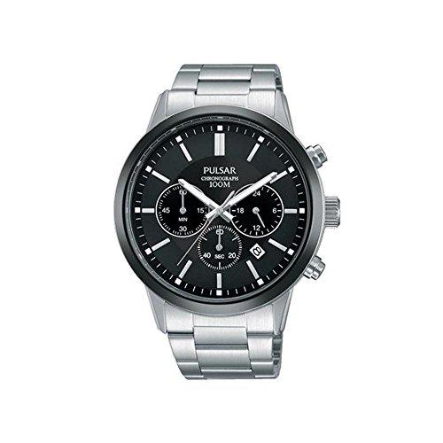 腕時計 パルサー SEIKO セイコー メンズ 【送料無料】Pulsar Mens Stainless Steel Black Chronograph Dial Watch PT3747X1腕時計 パルサー SEIKO セイコー メンズ