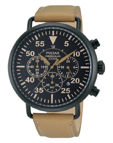 腕時計 パルサー SEIKO セイコー メンズ 【送料無料】Pulsar PT3479 44mm Ion Plated Stainless Steel Case Brown Leather Mineral Men's Watch腕時計 パルサー SEIKO セイコー メンズ