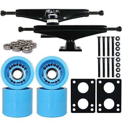 ウィール タイヤ スケボー スケートボード 海外モデル DECK Longboard Skateboard Trucks Combo Set 68mm Bigfoot Boardwalk Wheels with Black Trucks, Bearings, and Hardware Package (68mm Blue Wheels, 6ウィール タイヤ スケボー スケートボード 海外モデル DECK