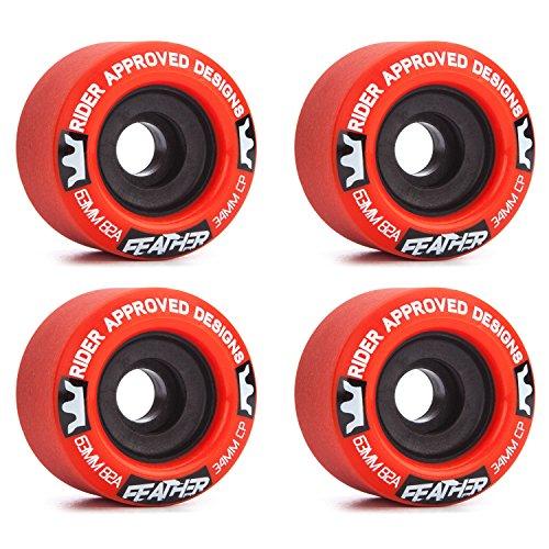 ウィール タイヤ スケボー スケートボード 海外モデル 【送料無料】Rad Feather 63mm 82a Red/Black Longboard Wheels (Set of 4)ウィール タイヤ スケボー スケートボード 海外モデル