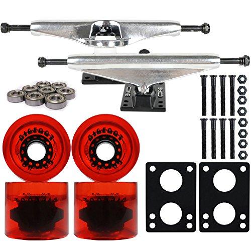 ウィール タイヤ スケボー スケートボード 海外モデル DECK SILVER LONGBOARD TRUCKS BIGFOOT 68mm RED CONICAL WHEELSウィール タイヤ スケボー スケートボード 海外モデル DECK