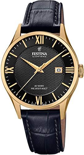 腕時計 フェスティナ フェスティーナ スイス レディース 【送料無料】Festina Men's Stainless Steel Quartz Watch with Leather Strap, Black, 20 (Model: F20010/4)腕時計 フェスティナ フェスティーナ スイス レディース