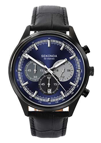 セコンダ イギリス 腕時計 メンズ 【送料無料】Sekonda Gents Chronograph Black Strap Blue Dial Sports Watch 1593セコンダ イギリス 腕時計 メンズ