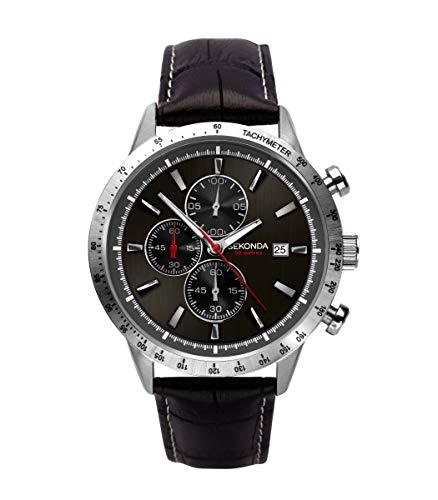 セコンダ イギリス 腕時計 メンズ 【送料無料】Sekonda Mens Black Dial Analogue Quartz Chronograph Watch with Black Leather Strap 1681セコンダ イギリス 腕時計 メンズ