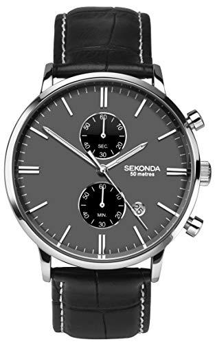セコンダ イギリス 腕時計 メンズ 【送料無料】Sekonda Mens Grey Dial Chronograph Quartz Watch with Leather Strap 1509セコンダ イギリス 腕時計 メンズ