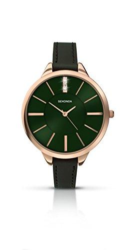 セコンダ イギリス 腕時計 レディース 【送料無料】Sekonda Editions Rose Gold Dial Green Strap Ladies Watch 2249セコンダ イギリス 腕時計 レディース