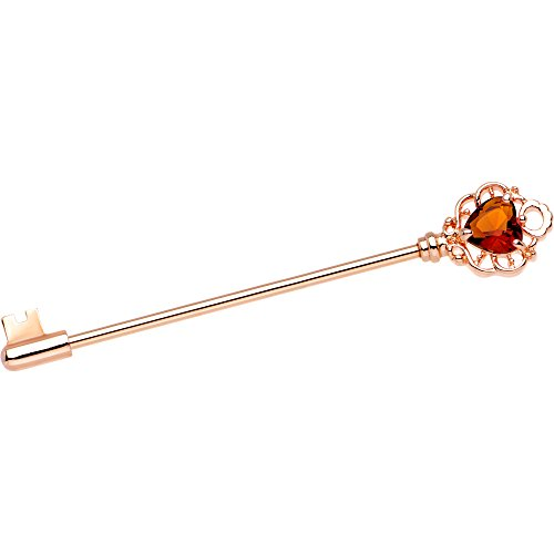 ボディキャンディー ボディピアス アメリカ 日本未発売 ウォレット Body Candy Rose PVD Steel Orange Heart Filigree Key Helix Earring Industrial Barbell Piercing 14 Gauge 38mmボディキャンディー ボディピアス アメリカ 日本未発売 ウォレット