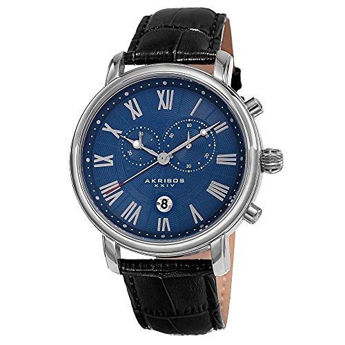 アクリボスXXIV 腕時計 メンズ 【送料無料】Akribos XXIV Our Products Mens Casual Watch - Engraved Wave Pattern Center Dial - Chronograph Quartz - Leather Strap - Blue BlackアクリボスXXIV 腕時計 メンズ