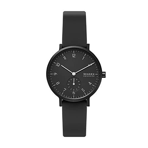 スカーゲン 腕時計 レディース 【送料無料】Skagen Women's Aaren Quartz Silicone Watch, Color: Black, 16 (Model:SKW2801)スカーゲン 腕時計 レディース