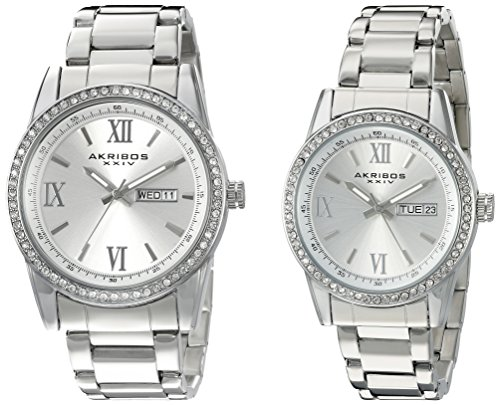 アクリボスXXIV 腕時計 メンズ 【送料無料】Akribos XXIV Men's and Women's Watch Matching Set - His and Her and Crystal Filled Watch Roman Numerals With Date Window on Stainless Steel Silver Bracelet - AK888アクリボスXXIV 腕時計 メンズ