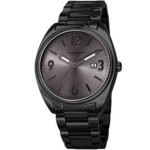 アクリボスXXIV 腕時計 メンズ 【送料無料】Akribos XXIV Stainless Steel Designer Men's Watch - Link Bracelet Strap, Date Window, Curved Edge Vintage Dial, Sporty Wristwatch - AK957 (Black)アクリボスXXIV 腕時計 メンズ