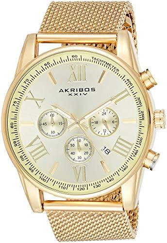 アクリボスXXIV 腕時計 メンズ 【送料無料】Akribos Omni Mens Dress Watch - Round Radiant Sunburst Dial - Swiss Chronograph Quartz - Stainless Steel Mesh Strap - AK813アクリボスXXIV 腕時計 メンズ