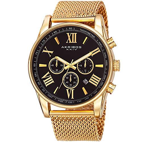 アクリボスXXIV 腕時計 メンズ 【送料無料】Father's Day Gift - Akribos XXIV Swiss Chronograph Quartz Watch - Round Radiant Sunburst Dial - Stainless Steel Mesh Strap - Omni Men's Dress Watch - AK813アクリボスXXIV 腕時計 メンズ